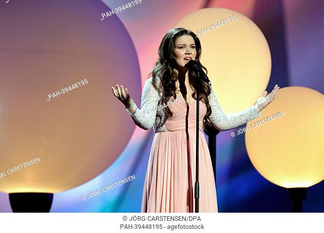 Singer Dina Garipowa representing Russia performing during the dress rehearsal of the 1st Semi Final for the Eurovision Song Contest 2013 in Malmo, Sweden