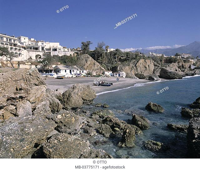 Spain, Andalusia, Nerja,  skyline, Fischerhafen,  Europe, Mediterranean, Costa Del sol, province Malaga, Sea resort, coast, rock coast, rocks, stones, beach