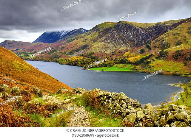 Buttermere lake and High Snockrigg from the path to Hay Stacks in the Lake District National Park, Cumbria, England