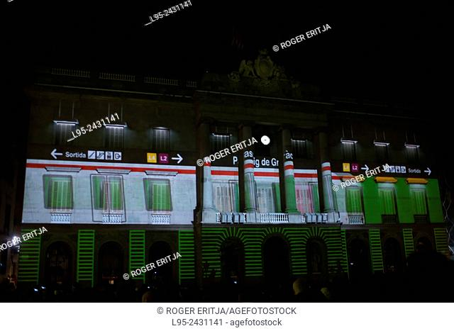 Barcelona City Hall creatively illuminated by artists during the Barcelona Light Festival on February 2015