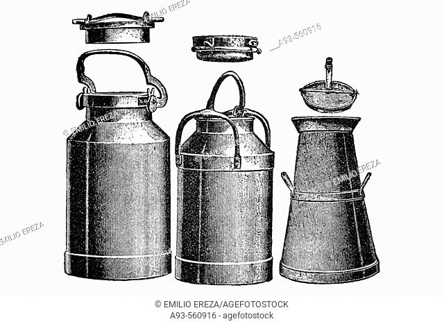 Milk cans. Antique drawing, ca. 1900