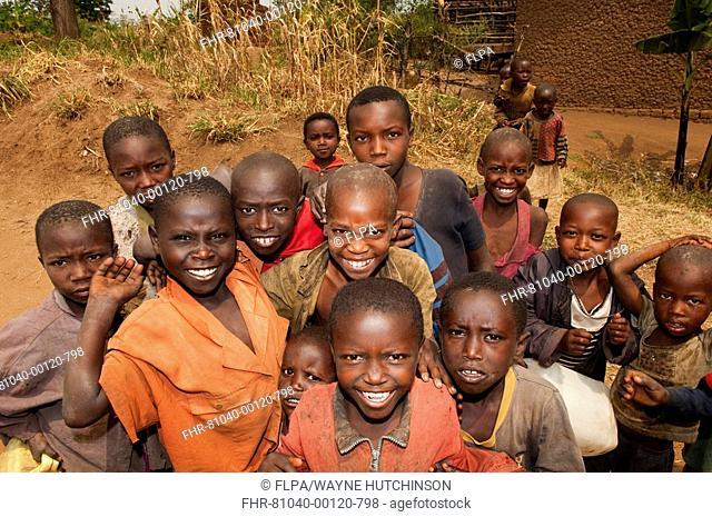 Group of smiling children, Rwanda