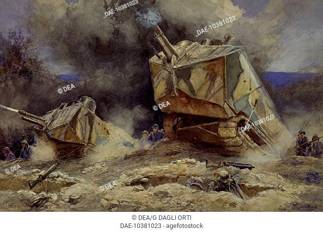 Attack on infantry and tanks in Saint Chamond, July 1918. World War I, France, 20th century.  Paris, Musée D'Histoire Contemporaine (History Museum)