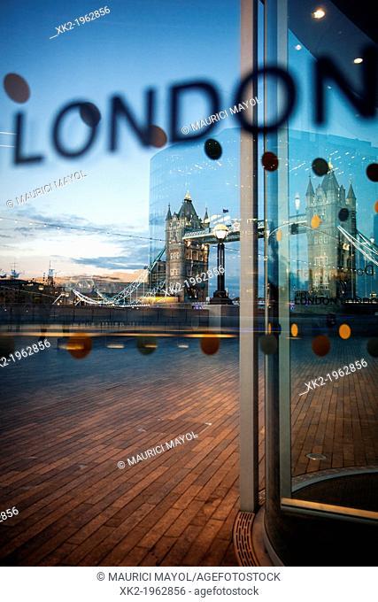London Tower Bridge from city hall at dusk, London, UK