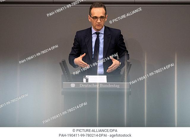 11 April 2019, Berlin: Heiko Maas (SPD), Federal Foreign Minister, speaks during the 95th session of the Bundestag on the deployment of the Bundeswehr in Mali