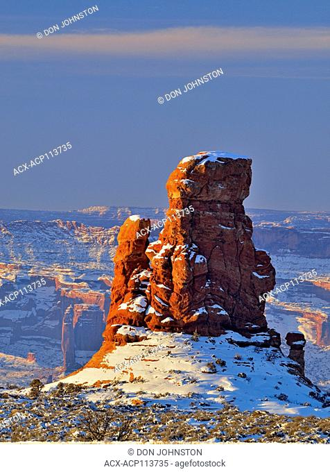 Sandstone pinnacles in a winter landscape, Arches National Park, Utah, USA