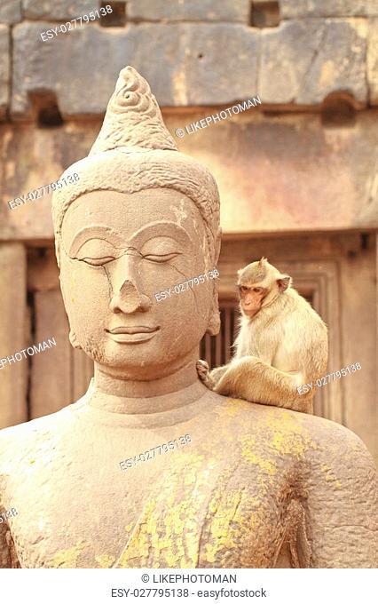 Statue of Buddha at Pra Prang Sam Yot in Lopburi Thailand