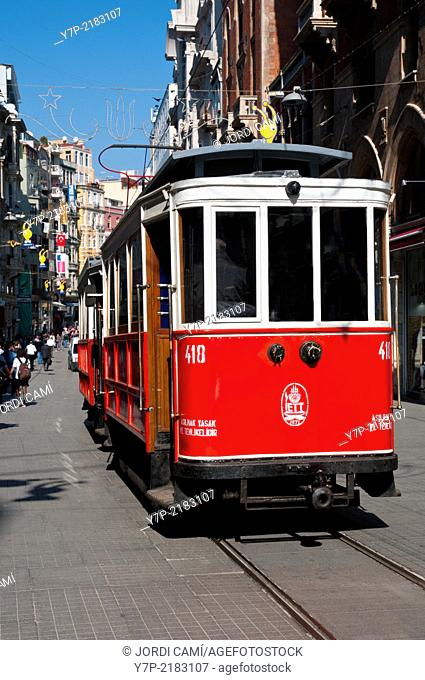 Tramway in Istiklal Caddesi («Independence Street«), Istanbul«s main shopping street in Beyoglu quarter. Turkey