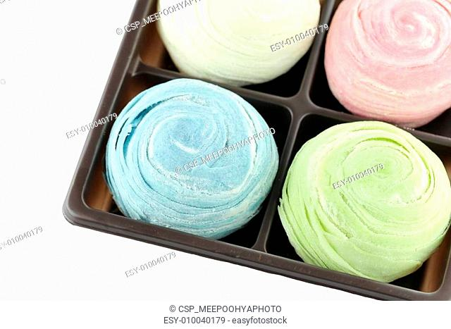 Thailand of Colorful Mochi Sweets in black box of isolated