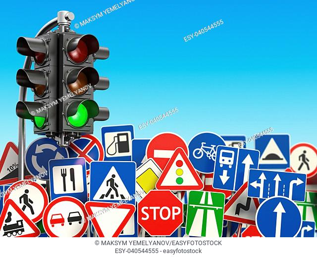 Traffic road signs on the sky background. 3d illustration