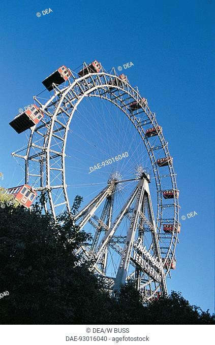 Low angle view of a ferris wheel, Prater Park, Vienna, Austria