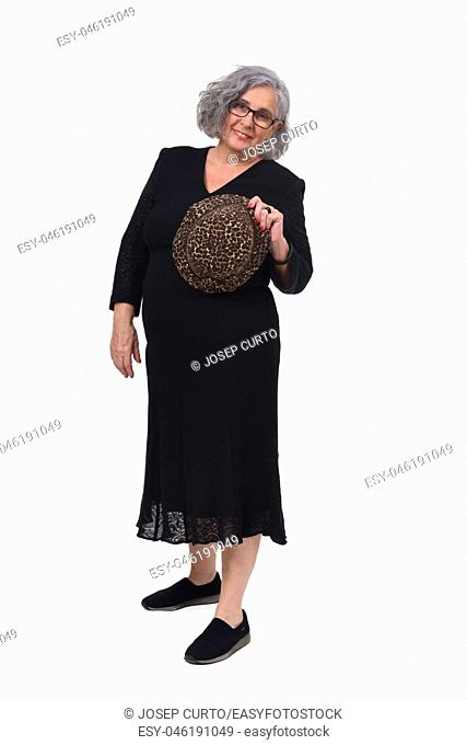 full portrait of a woman wiht hat on white background