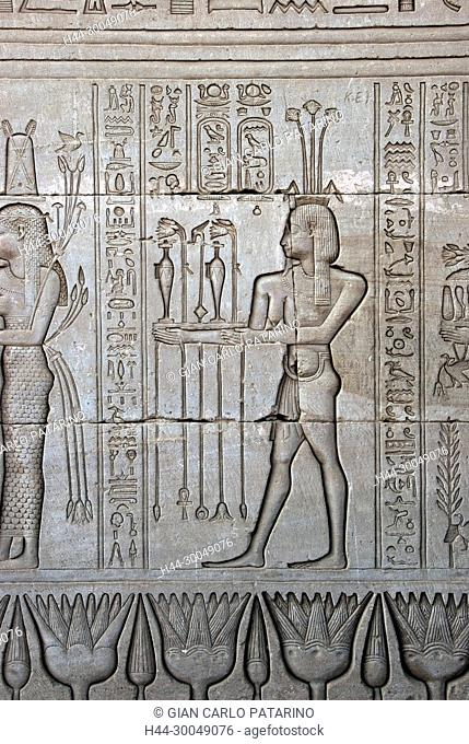 Egypt,Dendera,Ptolemaic temple of the goddess Hathor.Carvings on external wall