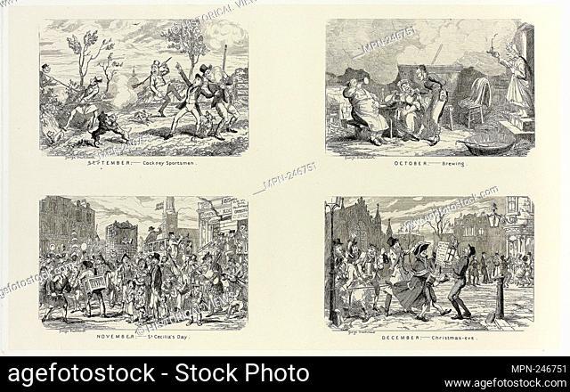 September – Cockney Sportsmen from George Cruikshank's Steel Etchings to The Comic Almanacks: 1835-1853 (top left) - 1837, printed c