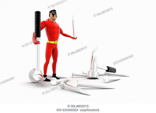 3d superhero with hammer and nail concept on white background, side angle view