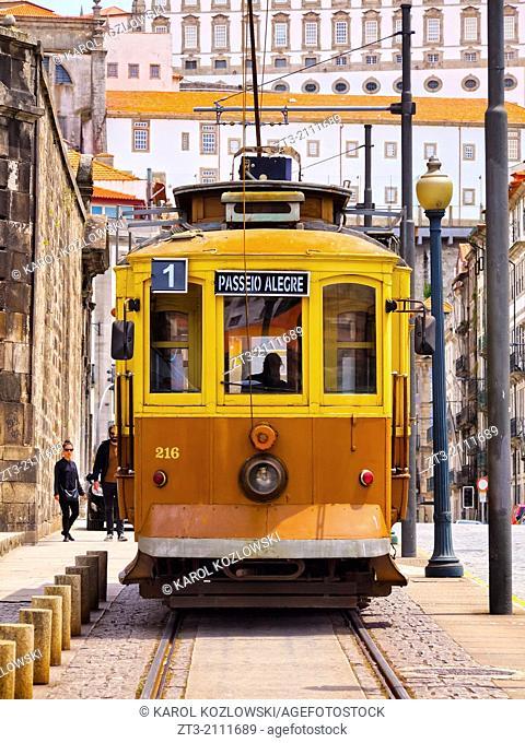 Passeio Alegre Number 1 Tram going along the Douro River in Porto, Portugal