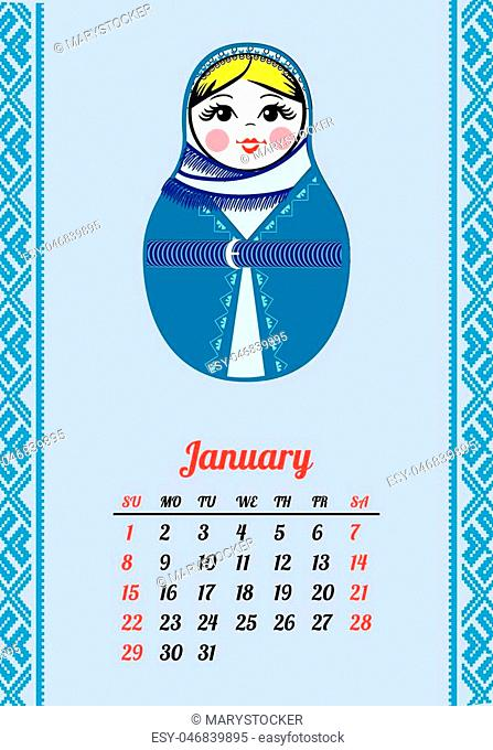 Calendar with nested dolls 2017. Matryoshka with different Russian national ornament. 2017 design. Week Starts Sunday. January Vector illustration
