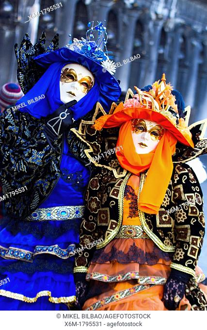 people with fancy dress in Carnival of Venice  Venice, Italy