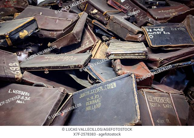 suitcases of dead prisoners, concentration camp. Auschwitz. Poland