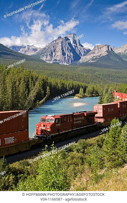 Train at Morant's Curve in the Banff National Park, Alberta, Canada