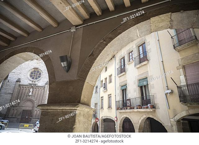 Ancient arches, main square, Calaf,Catalonia,Spain