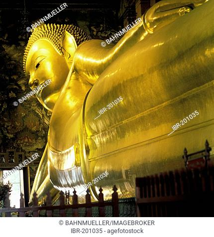 Wat Pho temple Bangkok Thailand built from 1789 resting Buddah covered with gold leafs