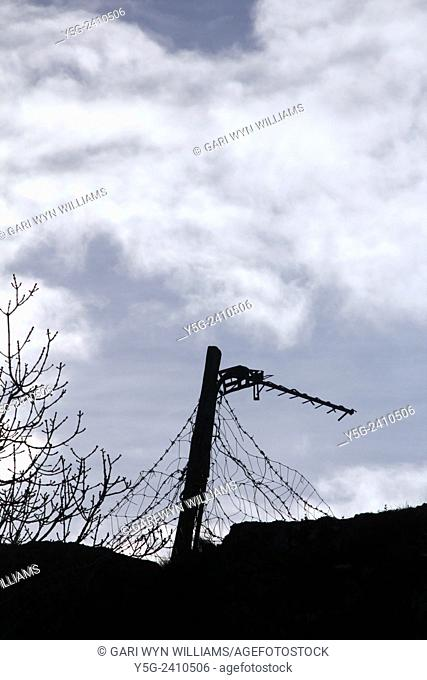 Tv aerial antenna on a pole outdoors in garden in wales great britain uk