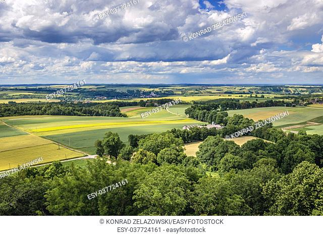 Rural landscape seen from tower of castle in Smolen village in Silesian Voivodeship of southern Poland