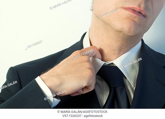 Man feeling overwhelmed. Close view