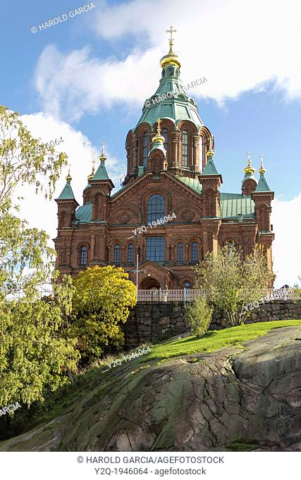 Uspensky Cathedral in a sunny day at Helsinki. Finland. Europe