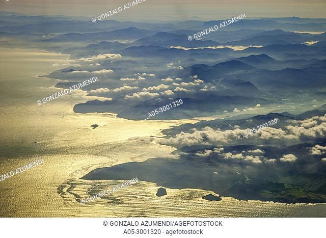 In the foreground San Juan de Gaztelugatxe and Aketx island. Coast of Biscay. Urdaibai Region. Bizkaia. Pais Vasco. Basque Country. Spain