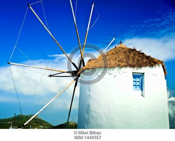 windmill in Parikia village  Paros island, Cyclades islands, Aegean Sea, Greece, Europe