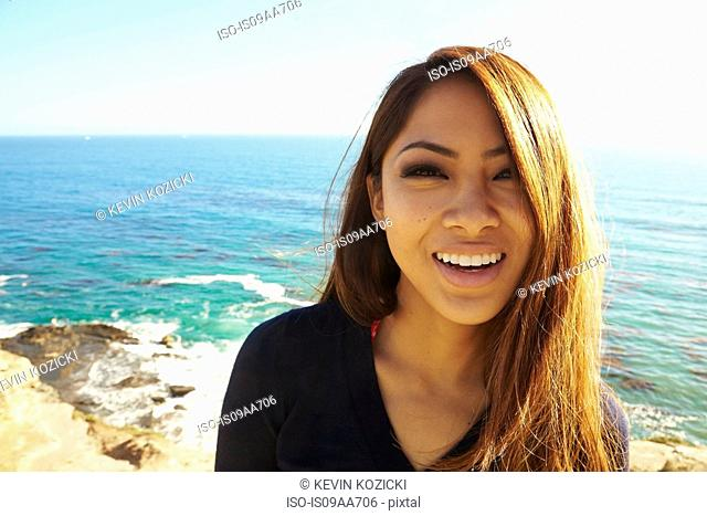 Portrait of young woman smiling, Palos Verdes, California, USA