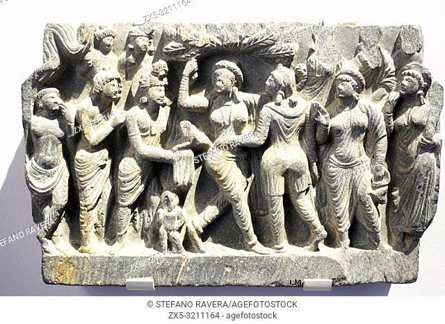 The Birth of the Buddha. 1-100. Ancient Gandhara. Pakistan. Schist. Victoria and Albert museum - London, England