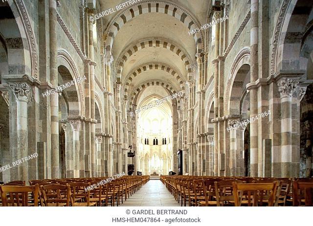 France, Yonne, Vezelay village, labelled Les Plus Beaux Villages de France The Most Beautiful Villages of France, inside the abbey