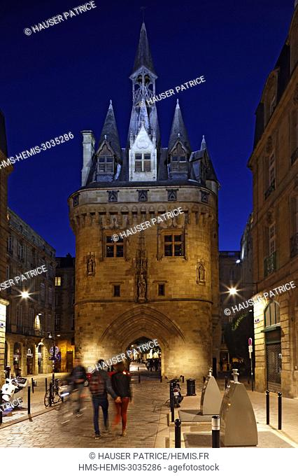 France, Gironde, Bordeaux, area listed as World Heritage by UNESCO, Porte Cailhau or Porte du Palais