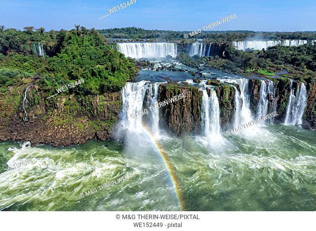 Rainbow over the Iguazu Falls, View from the Brazilian side, Unesco World Heritage Site, Foz do Iguacu, Parana State, Brazil