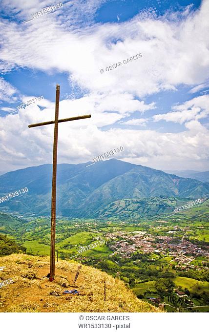 Landscape and Cross Venecia, Antioquia, Colombia