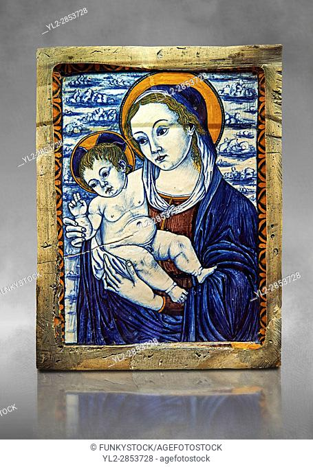 Pottery glazed plaque depicting the Virgin and Child made in Faenza, Italy, around 1500. inv 3100, The Louvre Museum, Paris