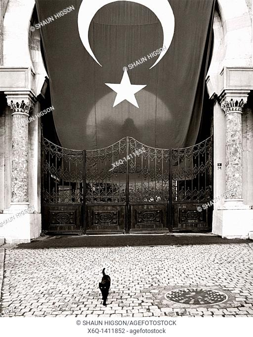 A black cat at the gate to Istanbul University on Beyazit Square in Istanbul in Turkey in the MIddle East