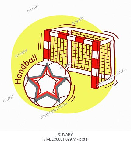 Illustration of soccer ball and goal