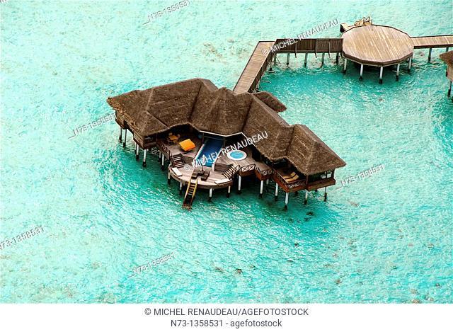 Maldives, Huvafen Fushi Per Aquum Resort, vue aerienne