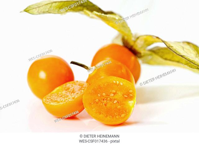 Physalis on white background, close up