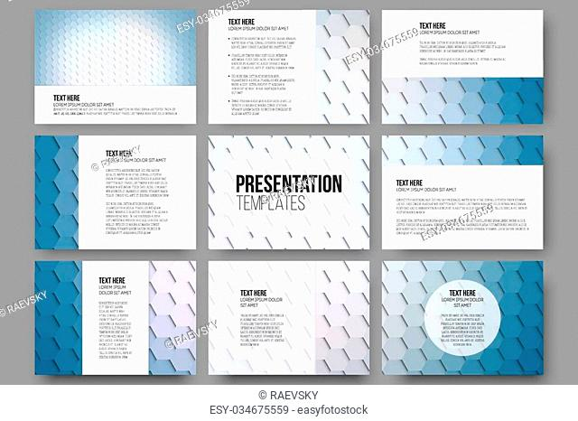 Set of 9 templates for presentation slides. Geometric blue backgrounds, abstract hexagonal vector patterns