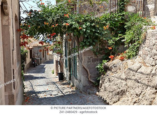 Small street in the old city of Mithymna , Lesbos, Greece