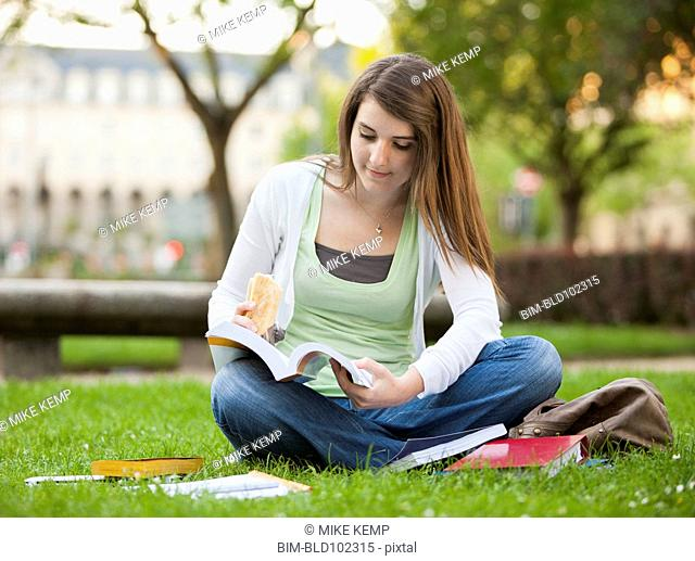 Caucasian student sitting in grass studying