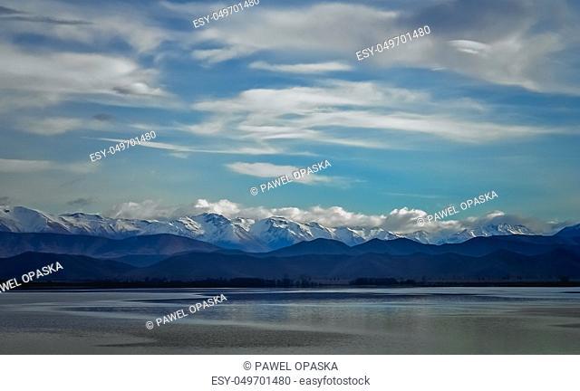 Stunning landscape views of Southern Alps and Lake Tekapo, Mackenzie Country, New Zealand