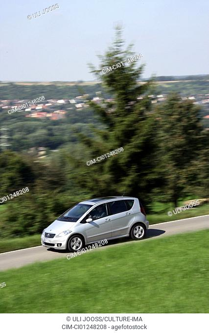 Mercedes A200 Turbo, model year 2005-, silver, driving, diagonal from the front, frontal view, side view, country road