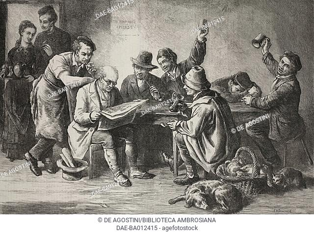 Discussing the budget, patrons in a tavern, United Kingdom, illustration from the magazine The Illustrated London News, volume LX, April 6, 1872