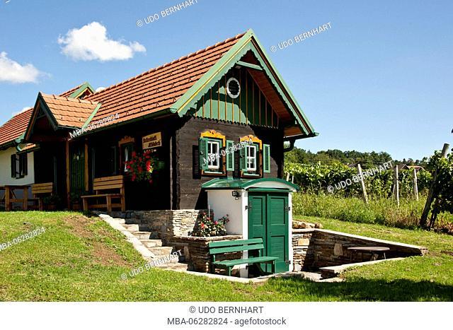 Austria, Burgenland, Kellerstöckl, Tschaderberg, Kleiner Tschader, wooden house